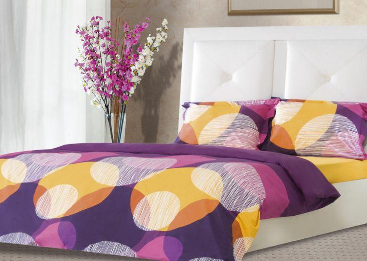 Pościel satynowa Valentini Bianco PRAGA VIOLET, 160x200 + 2x 70x80 cm oraz 220x200 + 2x70x80 cm, 100% bawełna.