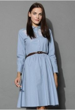 Demure Belted Midi Dress in Chambray - Dress - Retro, Indie and Unique Fashion