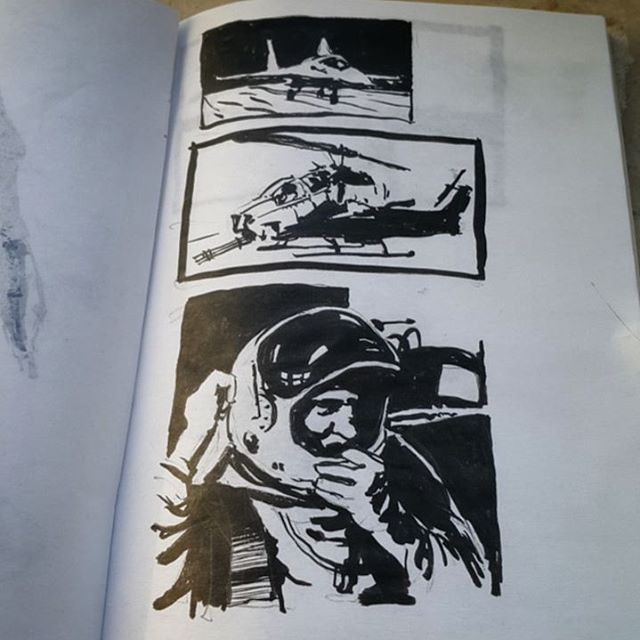 #daily #practice #sketching #sketch #brush #study #twovalues #sketchbook #sketches #b&w #blackandwhite #black #white #airplane #helicopter #apache #plane #military #astronaut #suit #sbelicki #belicki