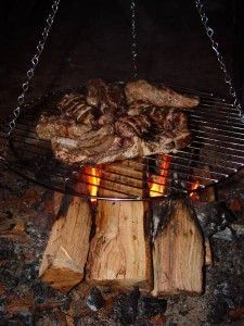 Campfire grill looks like hanging basket wire - brilliant.