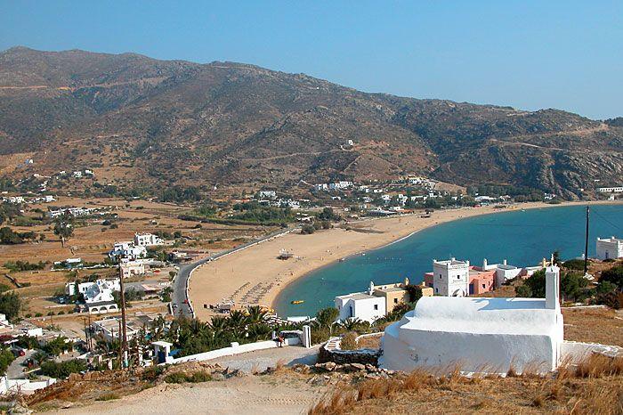 Milopotas beach long view, Ios, Greece islands
