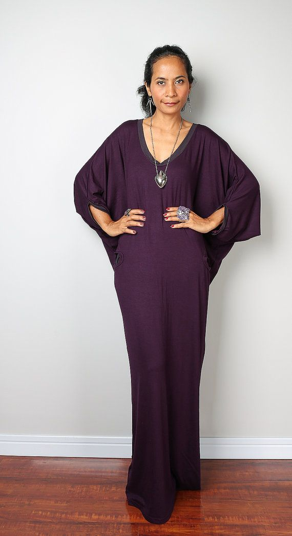 Purple Maxi Dress - Loose Fit 3/4 Sleeve Dark Purple dress : Autumn Thrills Collection No.14 (New Arrival)
