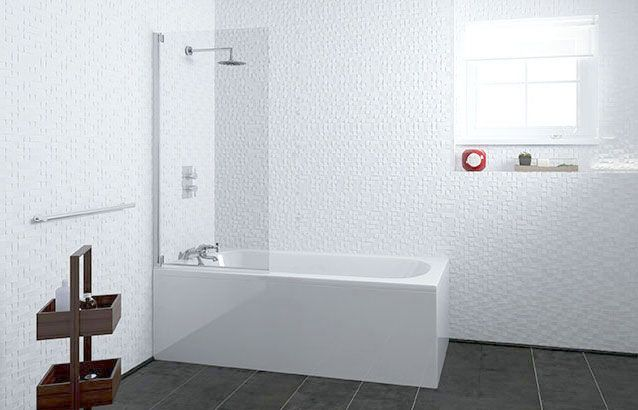 1600mm Curve Ended Straight Bath, Screen, Side Panel - V20141147MO scene rectangle medium