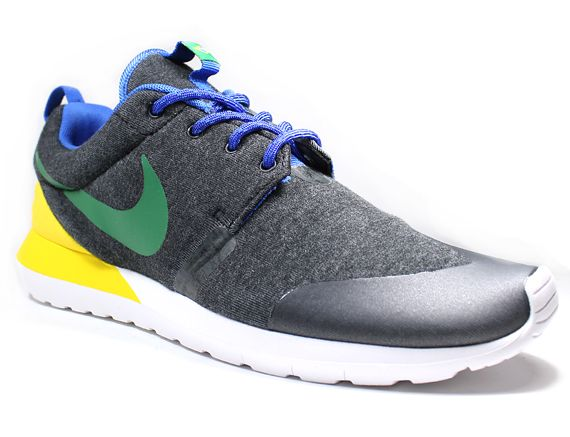 First look at the remarkable Nike Roshe Run NM Brazil releasing soon. A dark  grey Tech Fleece construction gives way to Brazilian national colors, flag .