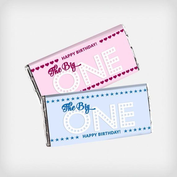 Printable First Birthday Party Favor Customized Candy Bar Wrappers 1st Birthday Blue Or Pink First Birthday Party Favor Birthday Party Favors Custom Candy