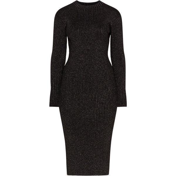 Zizzi Black / Gold Plus Size Ribbed knit lurex dress ($78) ❤ liked on Polyvore featuring dresses, black, plus size, plus size day dresses, plus size dresses, womens plus dresses, long sleeve knee length dress and long sleeve sparkly dress