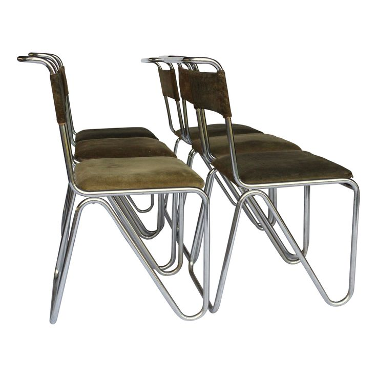 Very Rare. Six diagonal chairs by willem gispen for the Van Nelle factory. 1930s. Status: Sold by merzbau