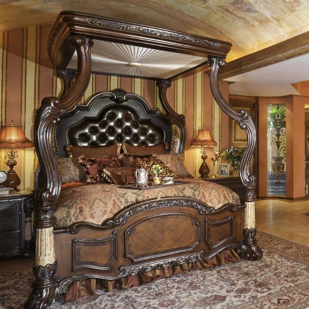 Aico Victoria Palace Canopy Bedroom Set In Light Espresso Bedrooms Sets Home Furnishings