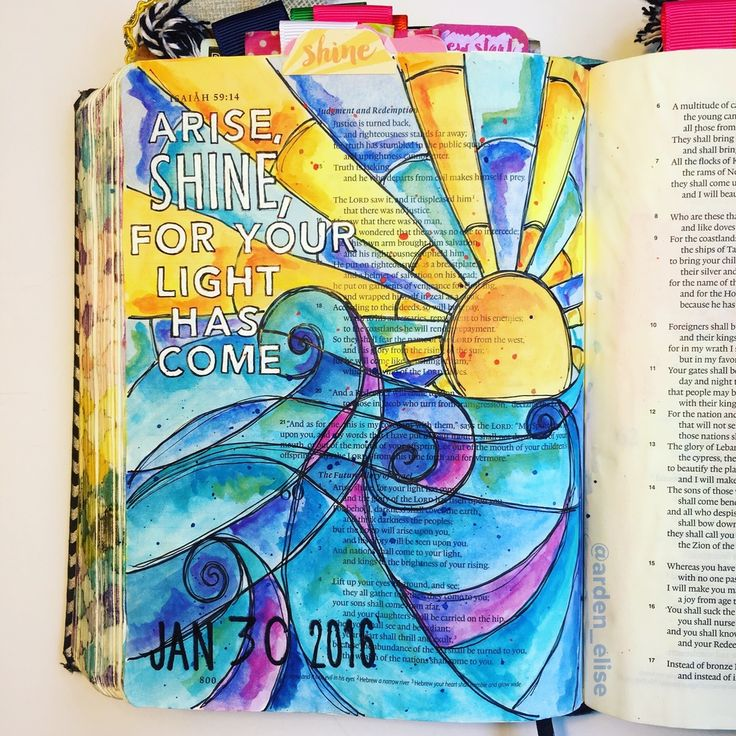 It's my one year Bible journaling anniversary! And here's my very first entry. I used the supplies I had on hand-- pens & colored pencils. Most of the examples of Bible pages I'd seen up to that point had a lot of fancy lettering, so I tried my best to emulate them. I actually did an ok job, but I slaved over this page for HOURS trying to get it to look as cool as the ones I'd seen online. I look at this page now, & I'm just so happy I don't have to worry about that anymore. The secre...