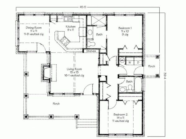 Stillwater A Natural Modern Green House Design With Great Views Two Bedroom House Porch House Plans Simple Floor Plans