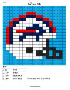 buffalo bills nfl football pixel art afc multiplication and division - Buffalo Bills Helmet Coloring Page