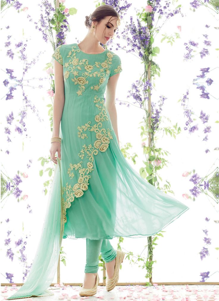 Green Embroidered Pure Georgette Anarkali Suit. This is so pretty! I totally want this suit!