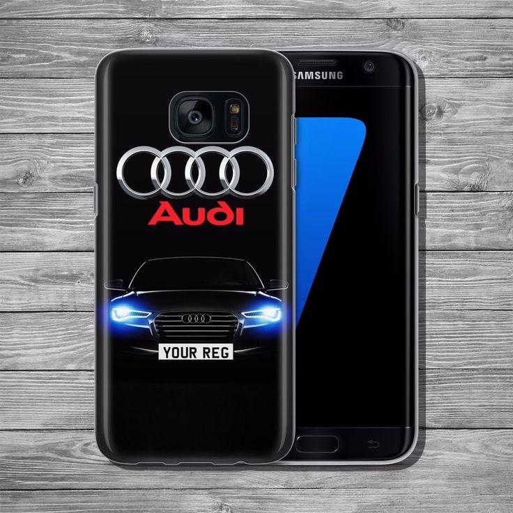 Audi logo RS S CUSTOM REG PLATE THIN TPU case cover Samsung S5 S6 S7 S8 Edge +