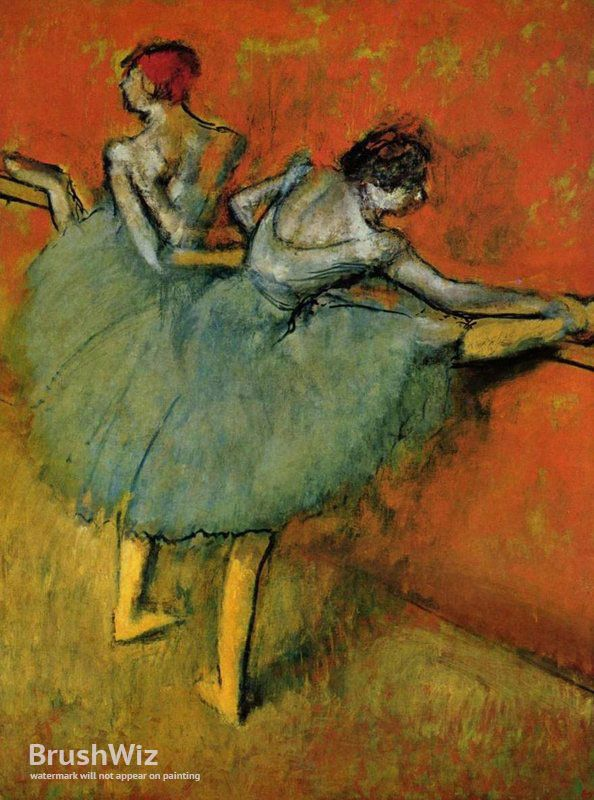 Dancers At The Barre by Edgar Degas - Oil Painting Reproduction - BrushWiz.com