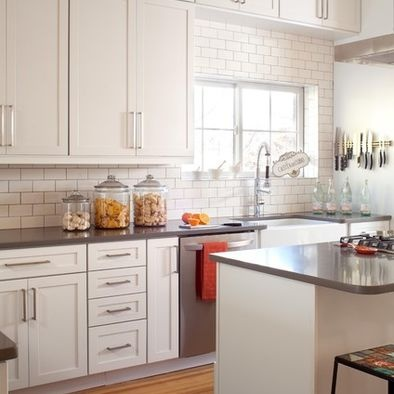 Caesarstone Countertops Paired With White Subway Tile To Create A Clean  Look.