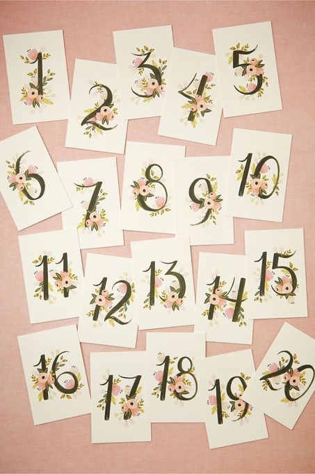 Floravine Table Numbers (5). Spring and Summer weddings - these beautiful garden inspired table #'s are an inexpensive MUST.