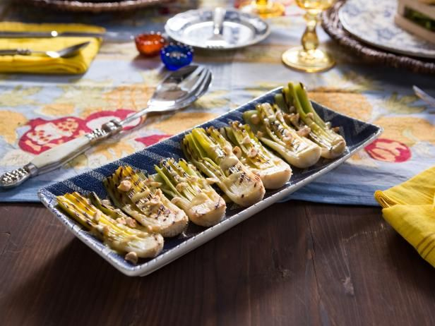 Get Tiffani Thiessen's Grilled Leeks with Tarragon Vinaigrette Recipe from Cooking Channel
