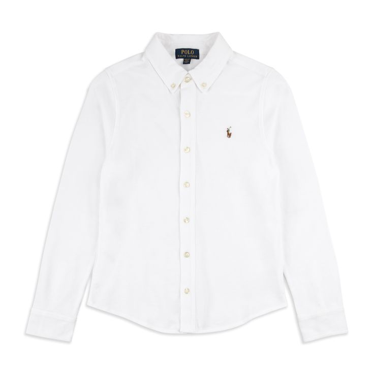 RALPH LAUREN Boys Pique Cotton Shirt - White Ralph Lauren boys pique shirt in soft woven cotton along with the iconic pony embroidery logo is perfect for any occasion.