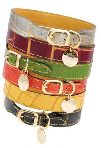 Hartman and Rose: Afrikaan Collection  Croc print Leather Designer Dog Collars and Leashes