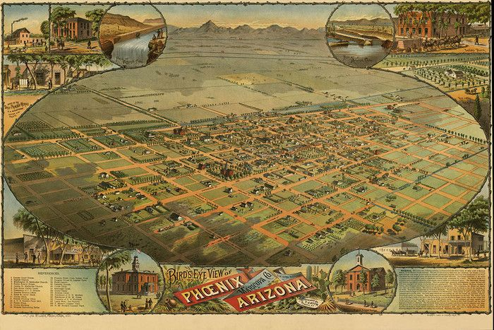 Phoenix Arizona 1885 Map - <p>A map of Phoeniz Arizona in 1885 looking northeast sketched by C.J Dyer</p>