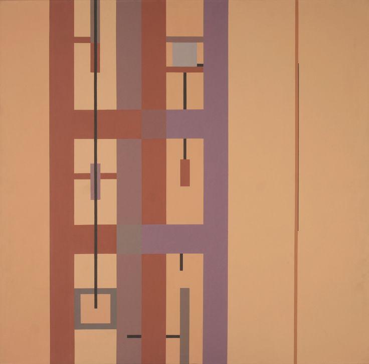 Obra pictórica abstracta realizada por el artista Gustavo Poblete, todas las obras pictóricas de la muestra iban acompañadas de esquemas previos en los cuales se determinaban los colores y su disposición en el espacio