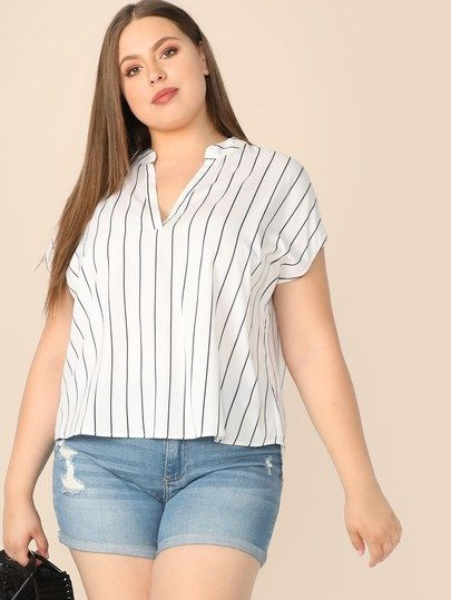 e5425898f2da39 Plus V Neck High Low Vertical Striped Top in 2019 | Plus Size | Tops ...