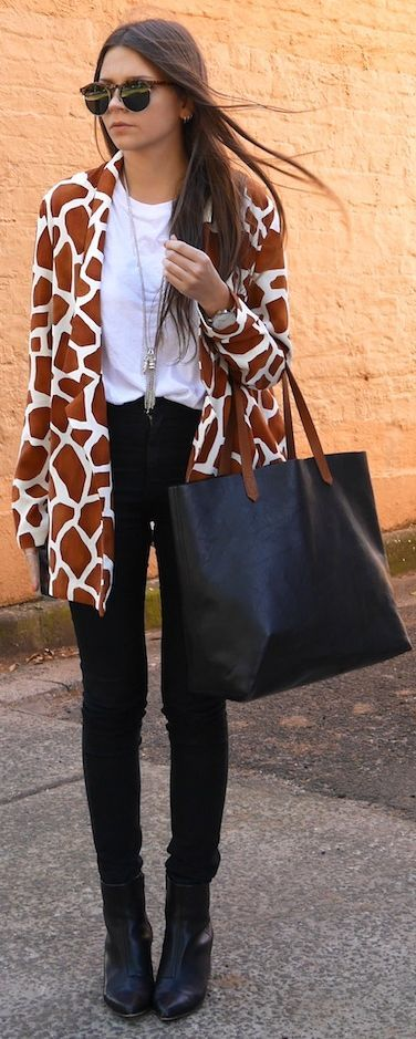 Jaggar The Label Brown And White Abstract Print Boyfriend Blazer