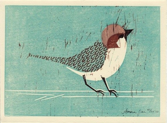 House Sparrow linocut hand pulled hand carved illustration art print, oil paint, teal, turquoise, brown, black, branch, feather. $28.00, via Etsy.