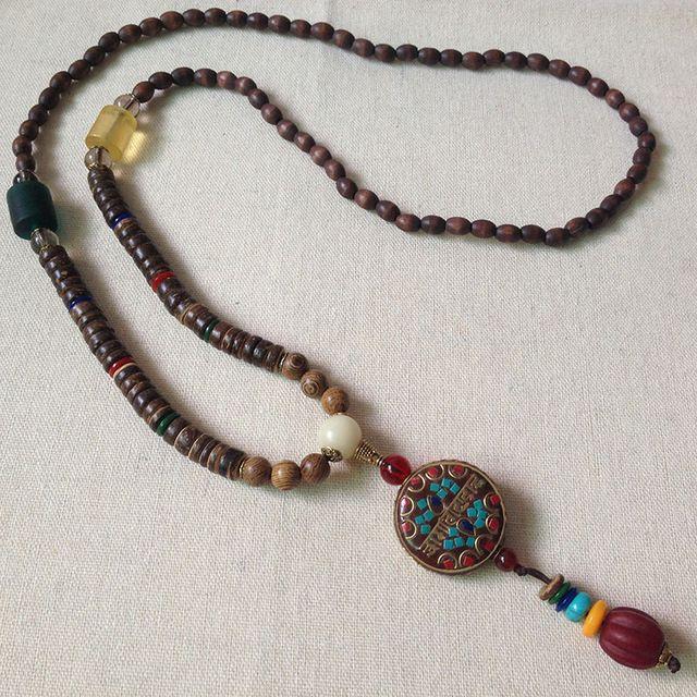 Ретро свитер цепи ожерелье бусы деревянные мужчины женщины моды отдыха личности национальной декоративные украшения