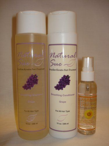 Organic Kit - Salt-free Shampoo Grape 10oz + Conditioner Grape 10oz + Silky Serum + FREE Travel Bag by Natural Sue. $23.00. Brazilian Keratin Post-Treatment. Sunflower Seed Extract provides protection against heat and environmental damage.. Salt Free Shampoo Grape. Perfect for colored hair too. Conditioner Grape. Shampoo: The ingredients work synergistically to protect hair from damage by environmental stressors of the sun and also to repair damage that already has occ...