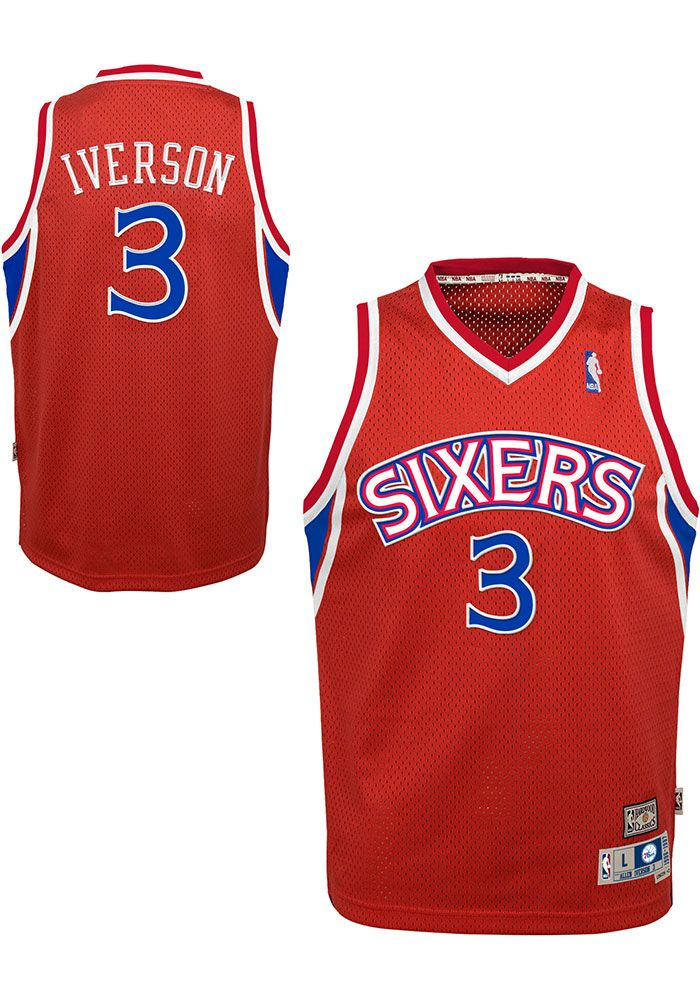 new style 9c2cd 3d83e Allen Iverson Outer Stuff Philadelphia 76ers Youth 96-97 ...