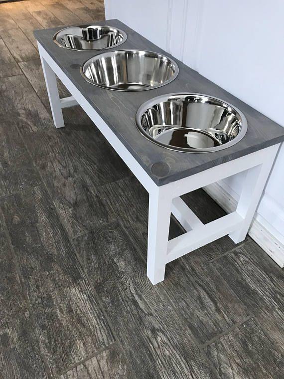 Farmhouse Style Raised Triple Dog Feeder Bowl Stand