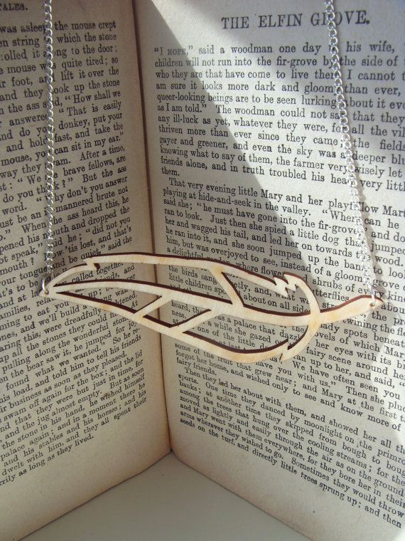 Wooden pendant necklace - OOAK lasercut birch plywood horizontal feather design on a silver chain.