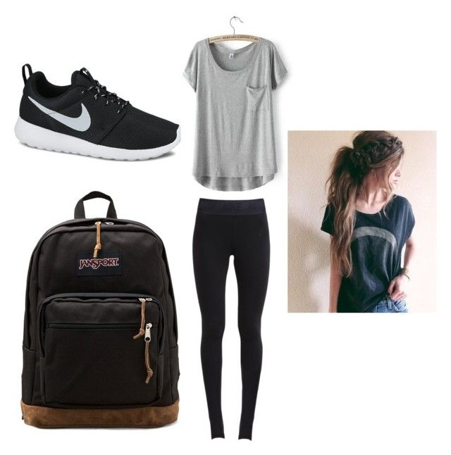 U0026quot;Cute comfy school outfitu0026quot; by maschumacher liked on Polyvore featuring NIKE JanSport and LULUS ...