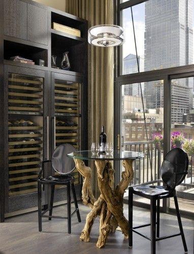 Wine fridge full length  love the table.