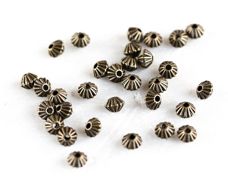 2476_Antique bronze beads 5x3.5 mm, Double cone beads, Bicone beads, Jewelry spacers, Metal beads, Bronze bead spacers, Spacer beads_100 pcs by PurrrMurrr on Etsy