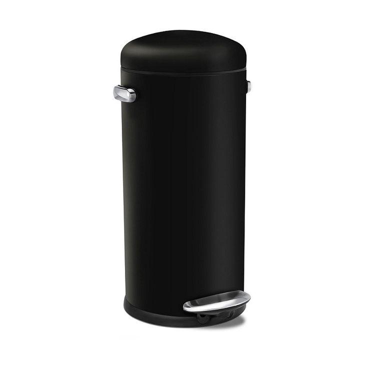 £99.99 simplehuman 30 Litre Retro Black Steel Bin in bins at Lakeland