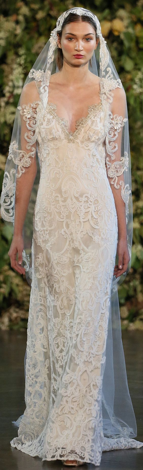 Faith wedding dress by Claire Pettibone paired with her Casablanca beaded veil https://shop.clairepettibone.com/products/casablanca-veil
