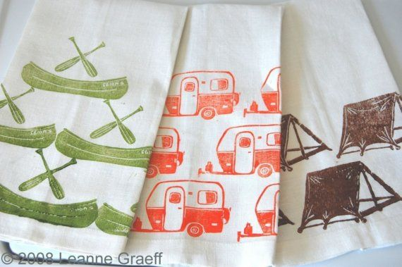 Camp Tea Towel Series Camper Canoe Tent  Hand by Leannegraeff, $12.00