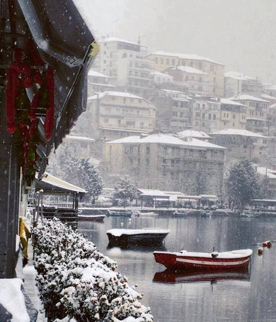 #snow covered city of #kastoria | #photography Gianna Katsigianni | #travel #winter #destinations #Macedonia #Greece - #macedonianplaces #macedonian towns #red