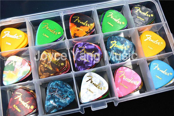 100 sztuk Pearl Celuloid Acoustic Electric Guitar Picks Plectrums Picks + 1 Duże Plastikowe Holder Case Box Darmowa Wysyłka
