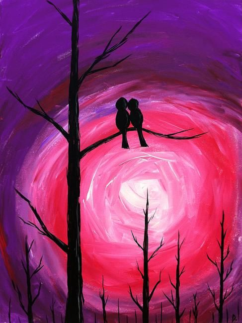 Moonbirds Silhouette acrylic painting