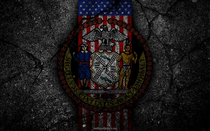 Hämta bilder New York statsvapen, grunge, New York symbolik, Vapen i New York, Amerikanska flaggan, New York vapen, USA