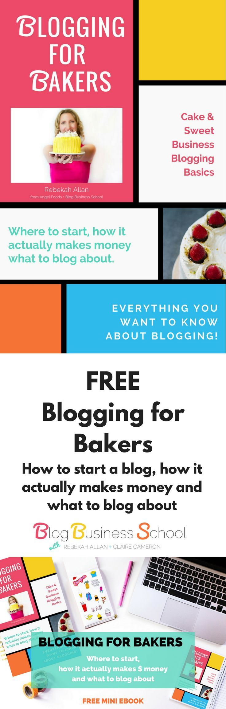 Blogging for Bakers free mini eBook | Cake & Sweet Business Blogging Basics. Where to start, how it actually makes money, what to blog about! (Everything you need to know about blogging). https://rebekahallan.com/free-caker-blogging-book/