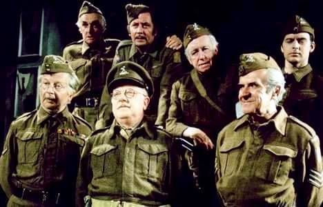 The cast of DAD's army with Arnold Ridley.