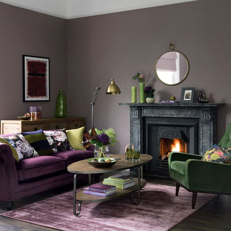 Green Living Room Ideas For Soothing Sophisticated Spaces: 15 Awesome Living Room Green And Purple Interior Color
