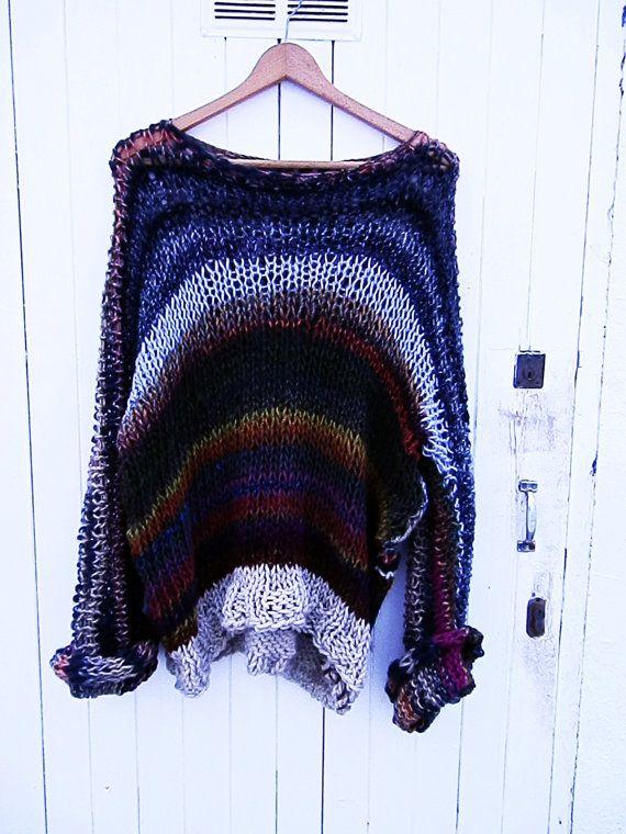 Jersey Multicolor   slouchy  suéter de punto por armarioenruinas