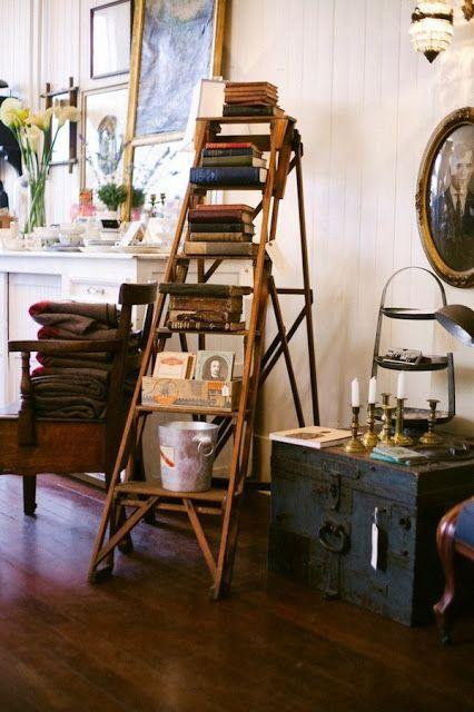 Dekoratif merdivenler-merdiven kitaplık