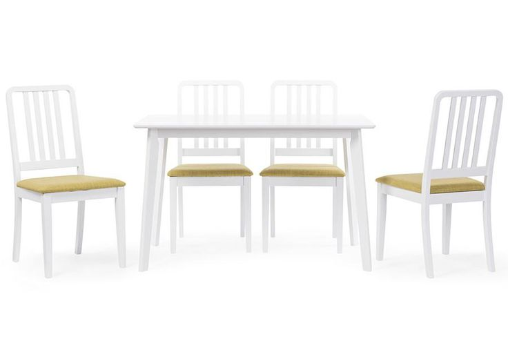 Baxton Studio Jasmine 5-Piece White Wood Dining Set w/Green Upholstered Dining Chair