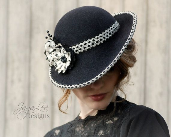 Women Felt Tilt Hat 1930's Vintage Style in by Jaya Lee Designs